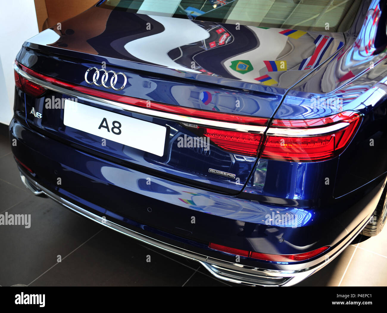 Rear View Of The Latest New Model Audi A8 Car On Sale At Audi