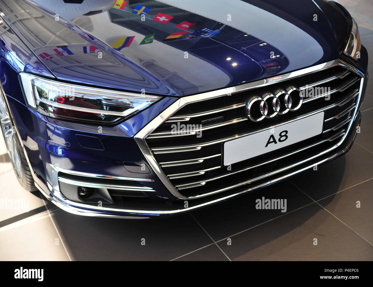 Car Front View Of The Latest New Model Audi A8 Car On Sale At Audi