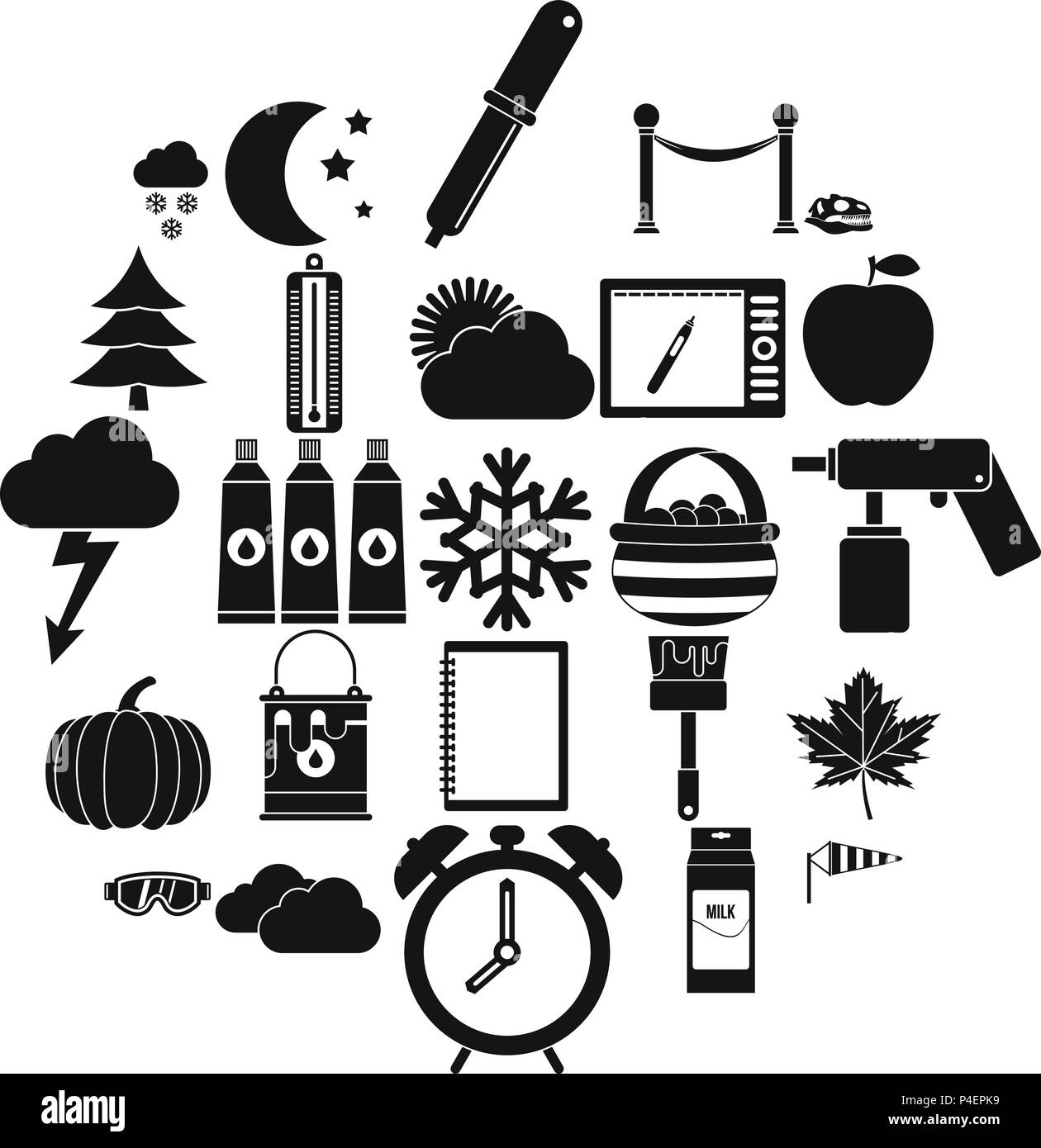 Portrayal icons set, simple style - Stock Image