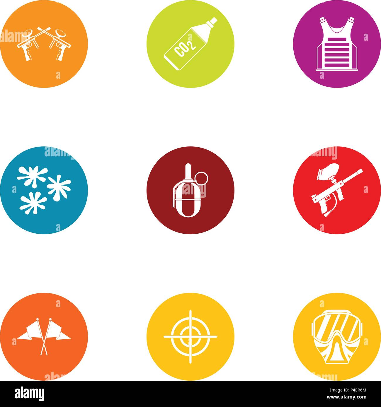 Combat training icons set, flat style - Stock Vector