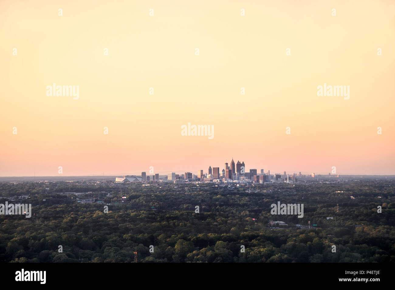 Skyline of Atlanta, Georgia from the air, USA - Stock Image
