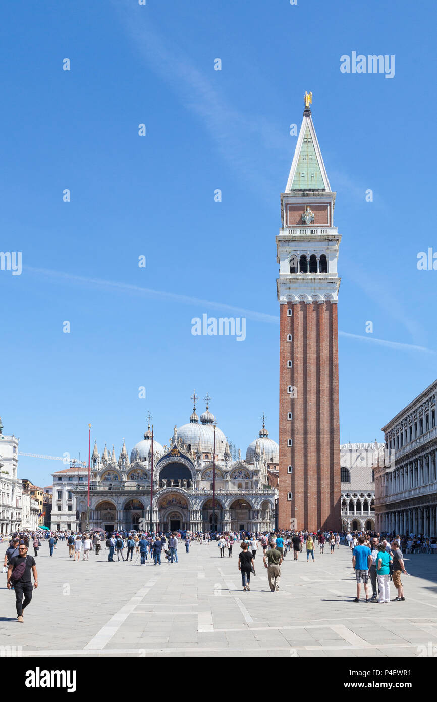 Piazza San Marco, Basilica San Marco and Campanile, Venice,  Veneto, Italy, St Marks Square, St Marks Basilica, bell tower, belltower, cathedral. peop - Stock Image