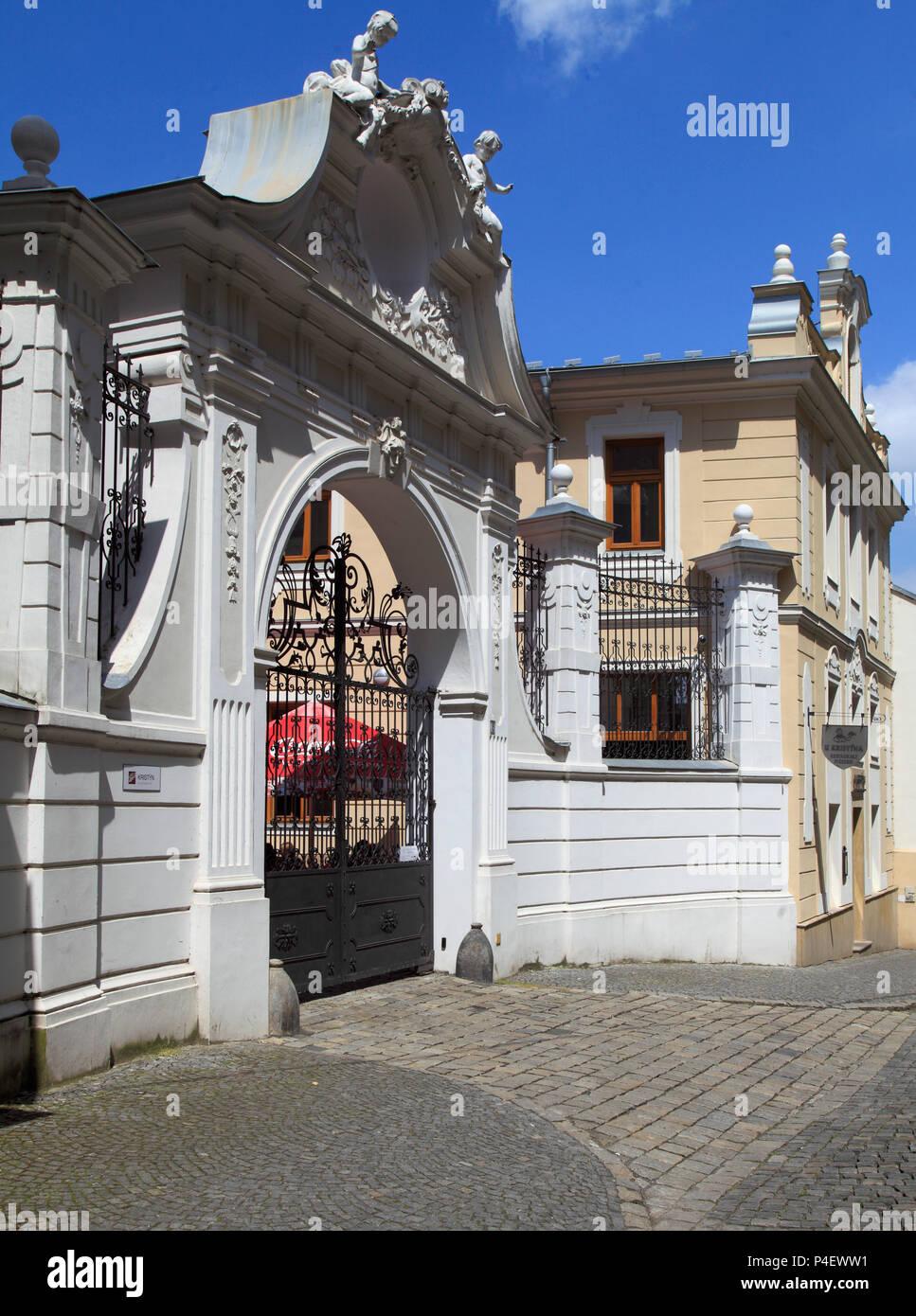 Czech Republic, Moravia, Olomouc, Curia Archiepiscopalis, gate, - Stock Image