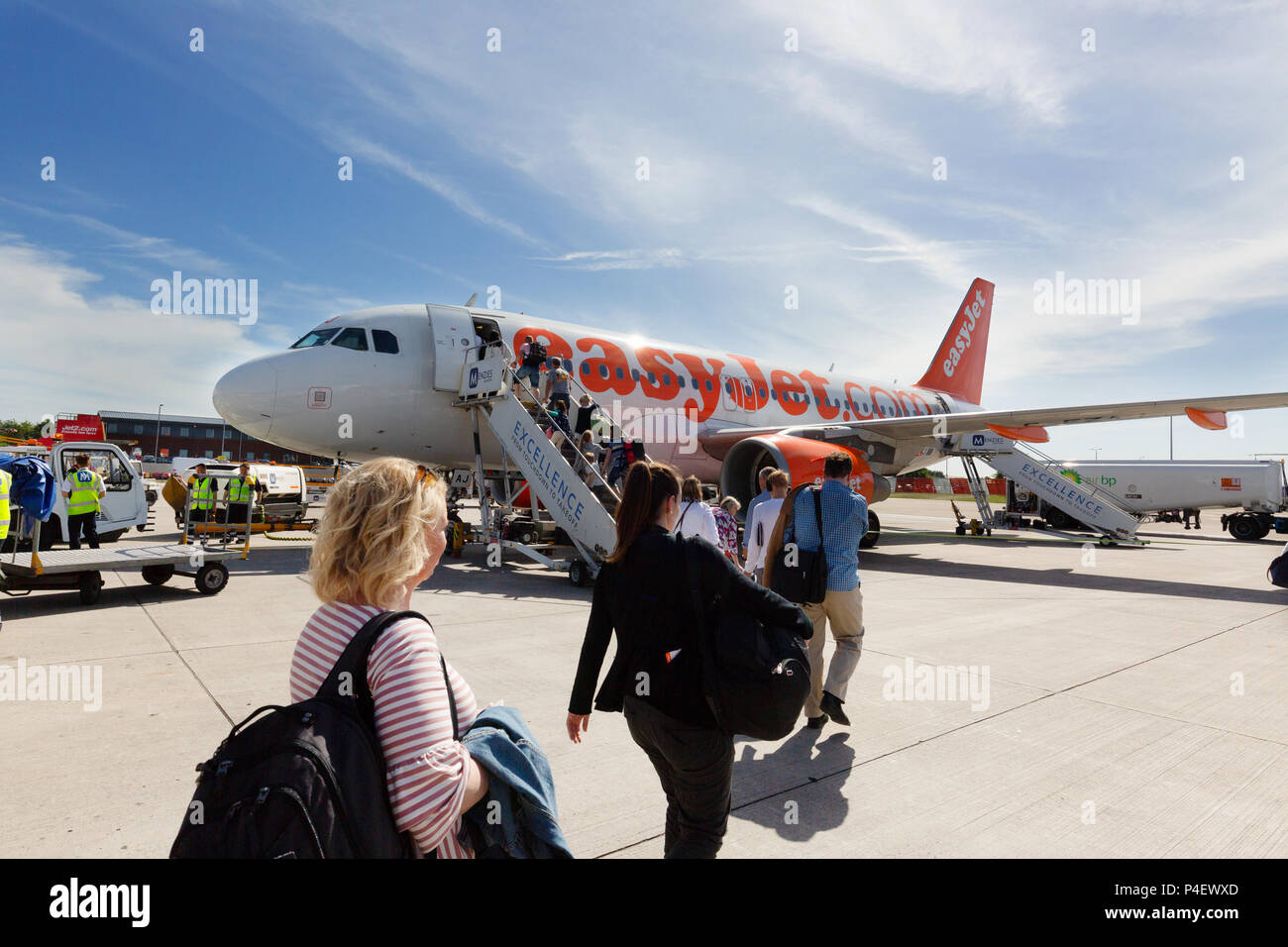 Air passengers boarding an Easyjet plane at Edinburgh Airport, Edinburgh Scotland UK Stock Photo