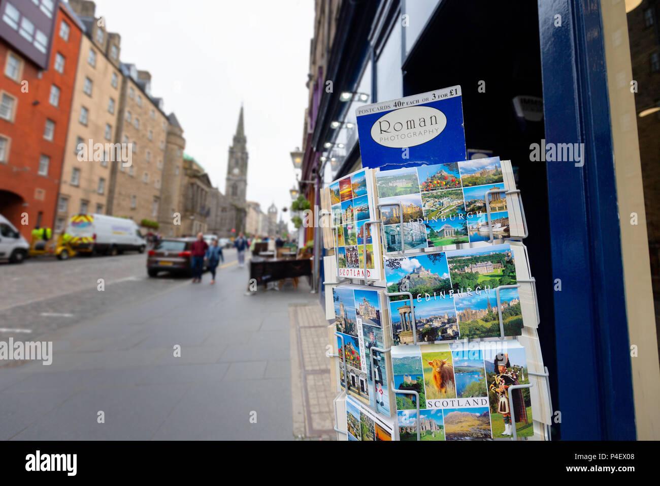 Edinburgh postcards on sale on the Royal Mile, Edinburgh old town, Edinburgh Scotland UK - Stock Image