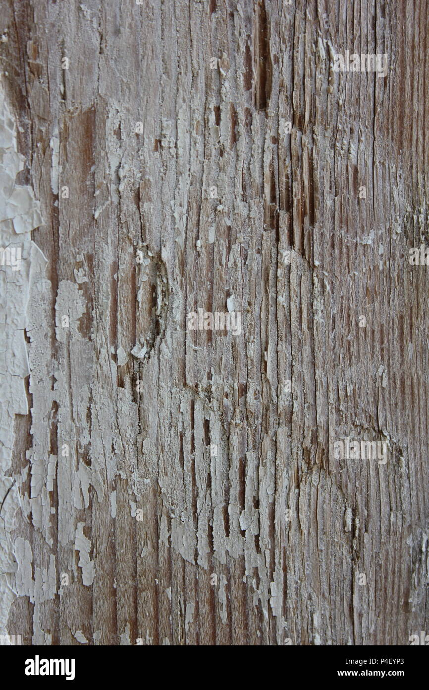 Weathered wooden column of a backyard deck in a standard Chicago home. - Stock Image