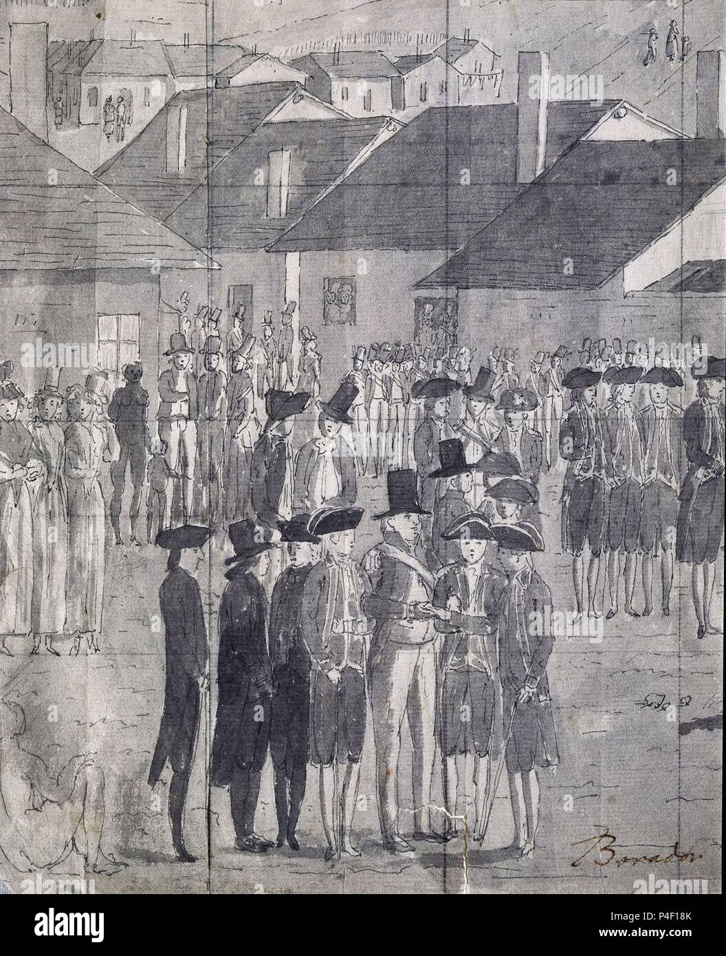 DETALLE DEL BORRADOR DEL RECIBIMIENTO DE LOS OFICIALES EN BAHIA BOTANICA - DIBUJO - SIGLO XVIII - EXPEDICION MALASPINA - PAPEL VERJURADO. Author: Juan Ravenet (1766-1821). Location: MUSEO DE AMERICA-COLECCION, MADRID, SPAIN. Stock Photo