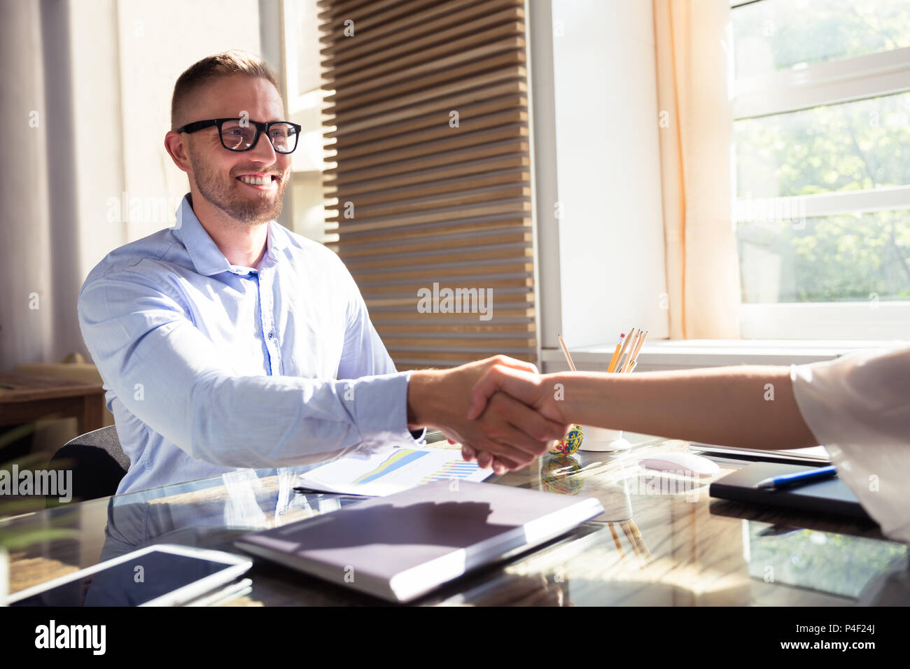 Smiling Young Businessman Shaking Hand With His Partner At Workplace - Stock Image