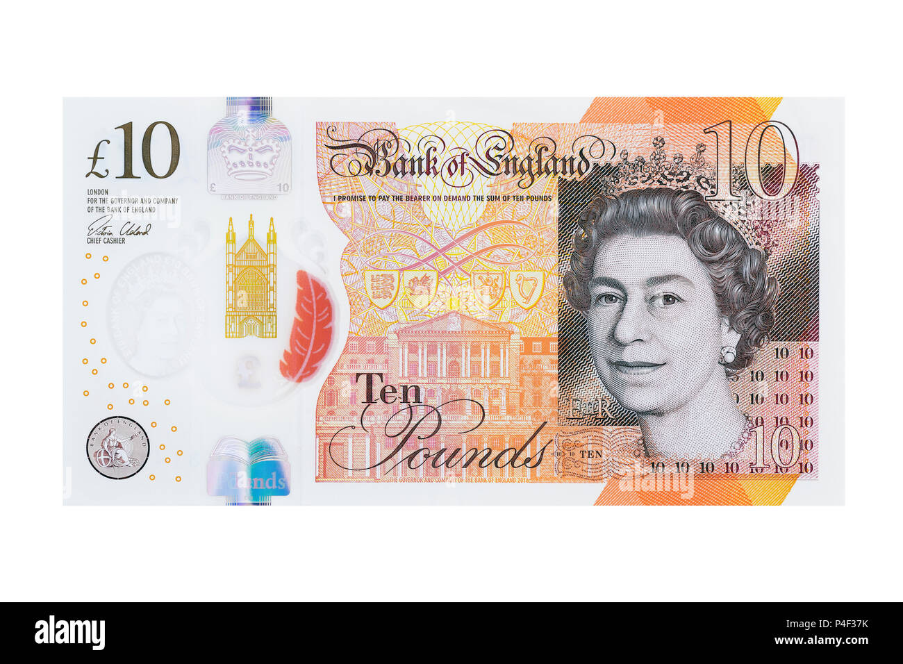 New Ten Pound Note, UK, Cut Out - Stock Image