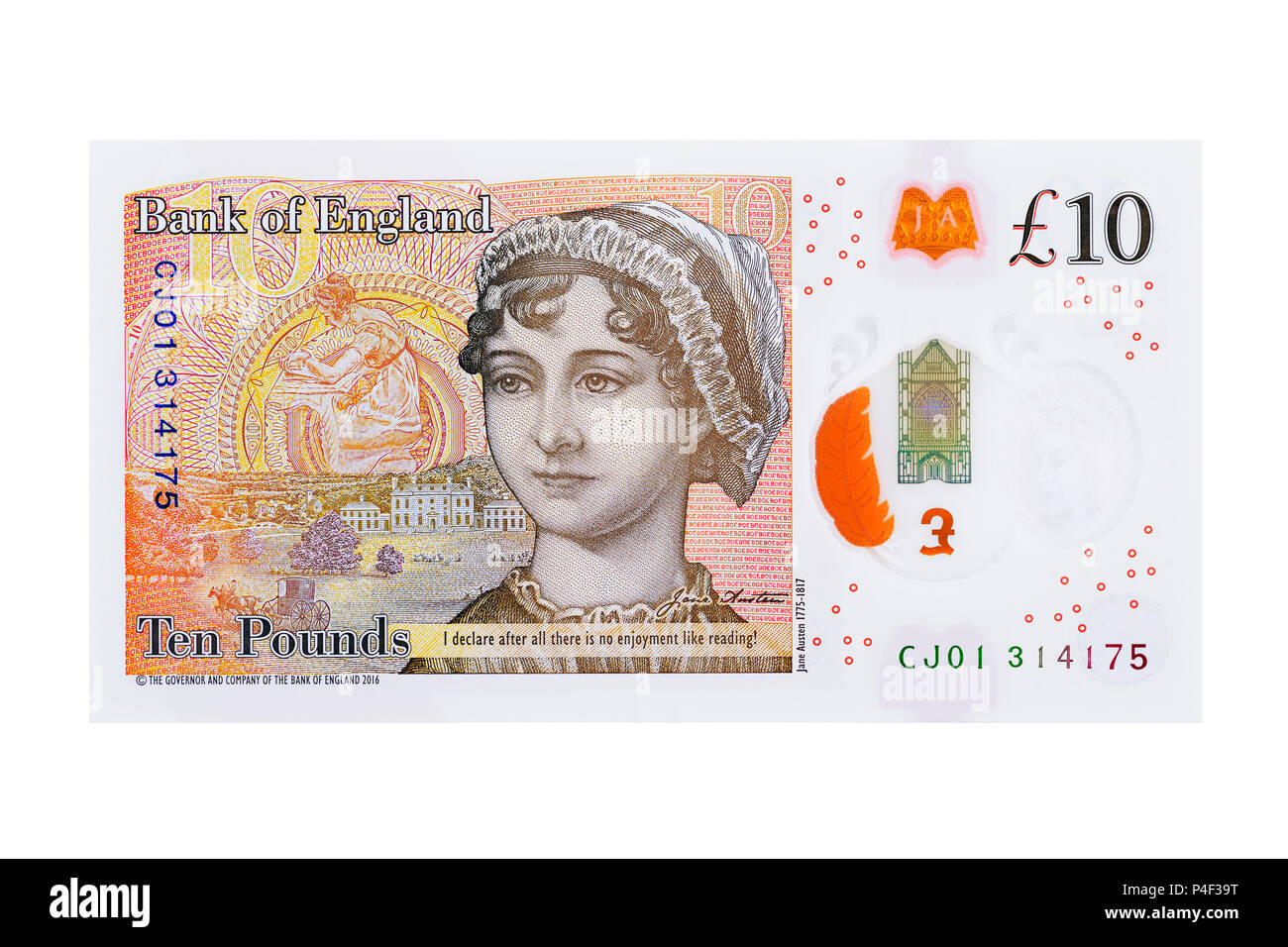 New Ten Pound Note Reverse with Jane Austin, UK, Cut Out - Stock Image
