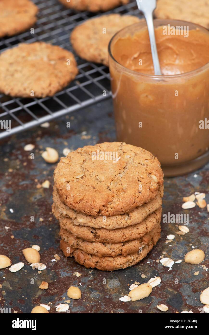 Homemade Peanut Butter Cookies - Stock Image