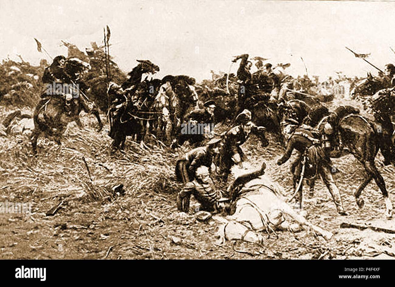 An 1899 illustration of General Blucher's fall at the battle of Ligny ( the last military victory of  r of Napoleon Bonaparte) - Stock Image
