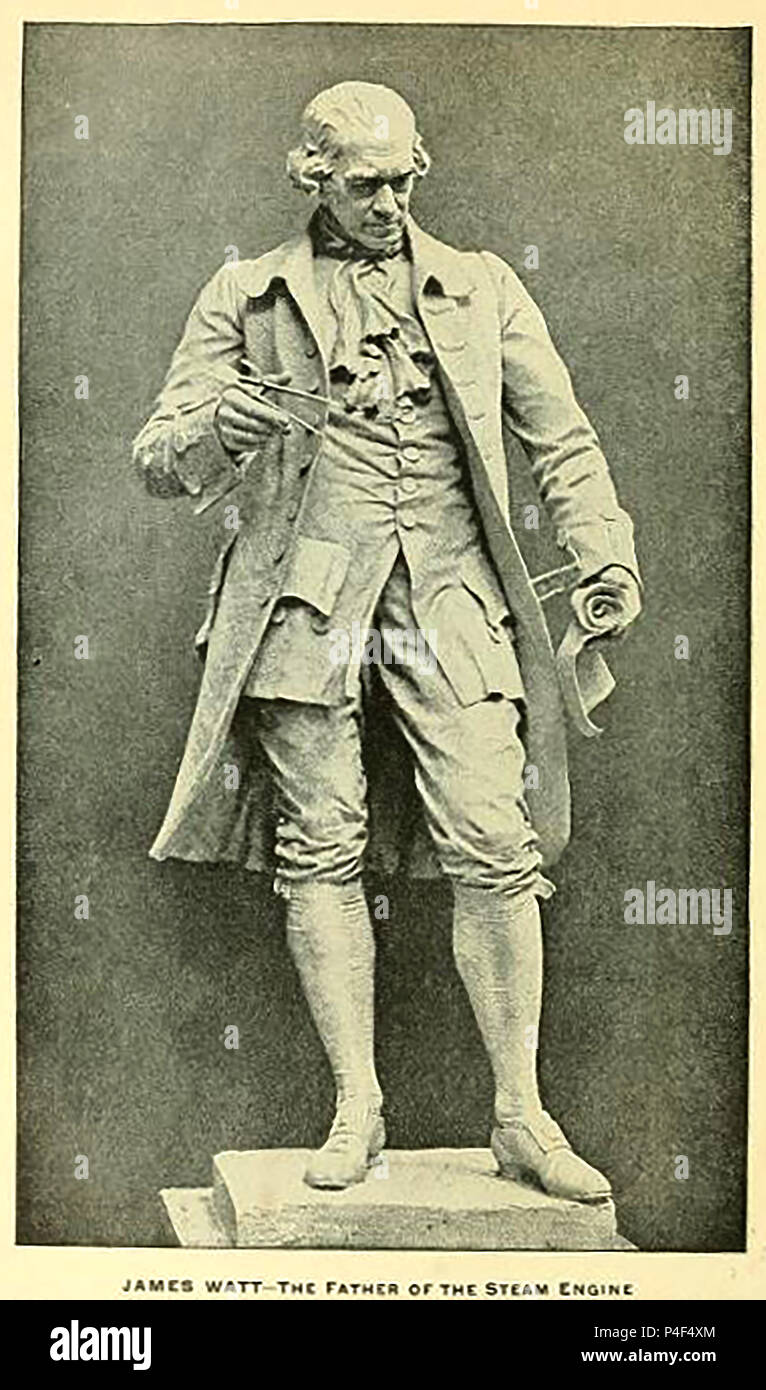 1899 illustration of a statue full length  of James Watt (1736–1819) FRS renfrewshire, Scottish Chemist and inventor of the steam engine. - Stock Image
