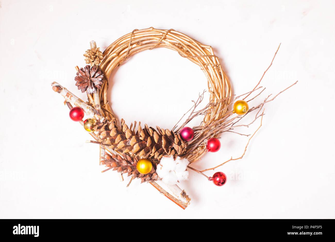 Vintage stylish Christmas wreath - Stock Image