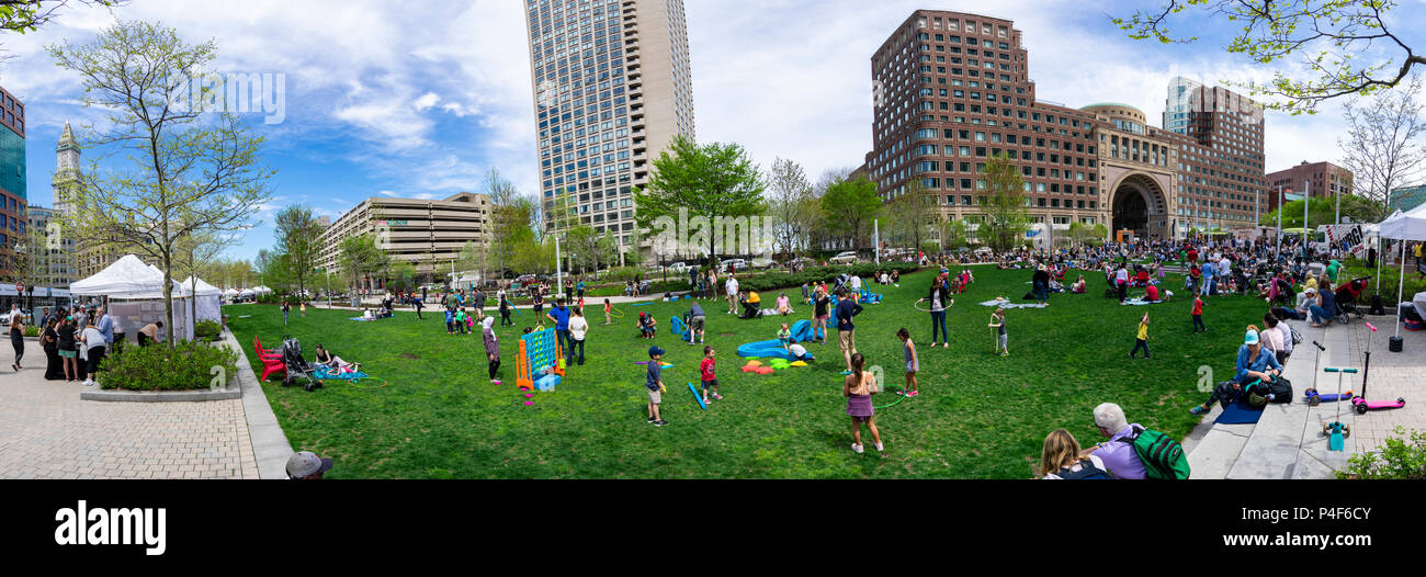 The Rose Kennedy Greenway is a  park located in Downtown Boston. It consists of landscaped gardens, promenades, plazas, and fountains. - Stock Image
