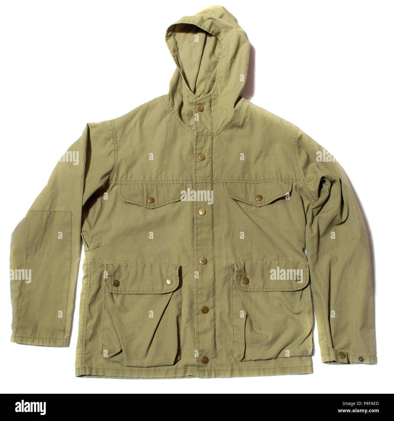 green hiking jacket - Stock Image