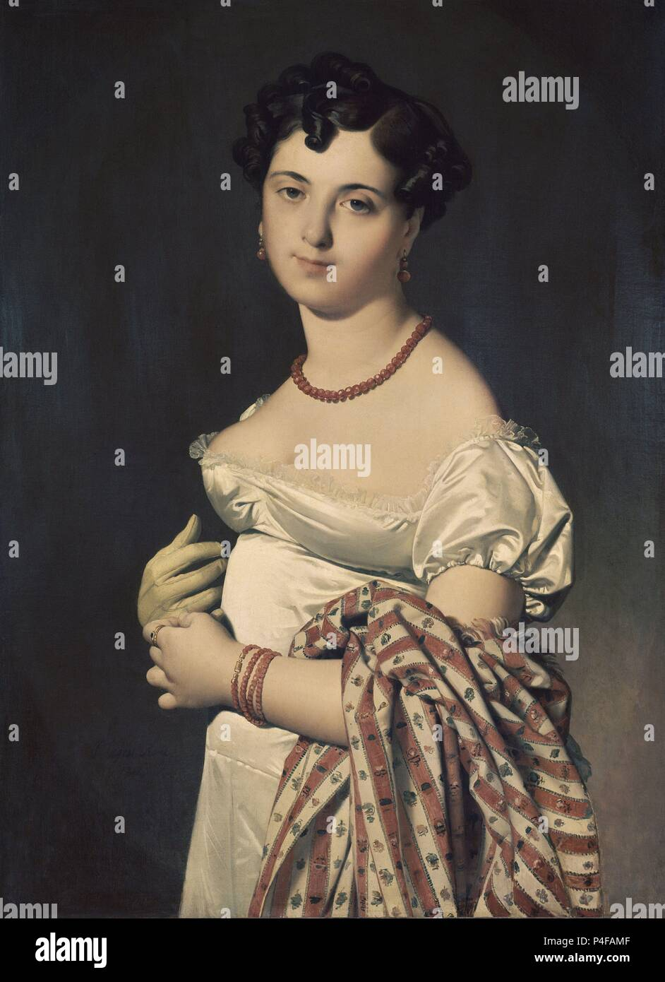 Madame Henri-Philippe-Joseph Panckouke - 1811 - 93x68 cm - oil on canvas. Author: Jean Auguste Dominique Ingres (1780-1867). Location: LOUVRE MUSEUM-PAINTINGS, FRANCE. Also known as: RETRATO DE MADAME PANCKOUCKE. - Stock Image