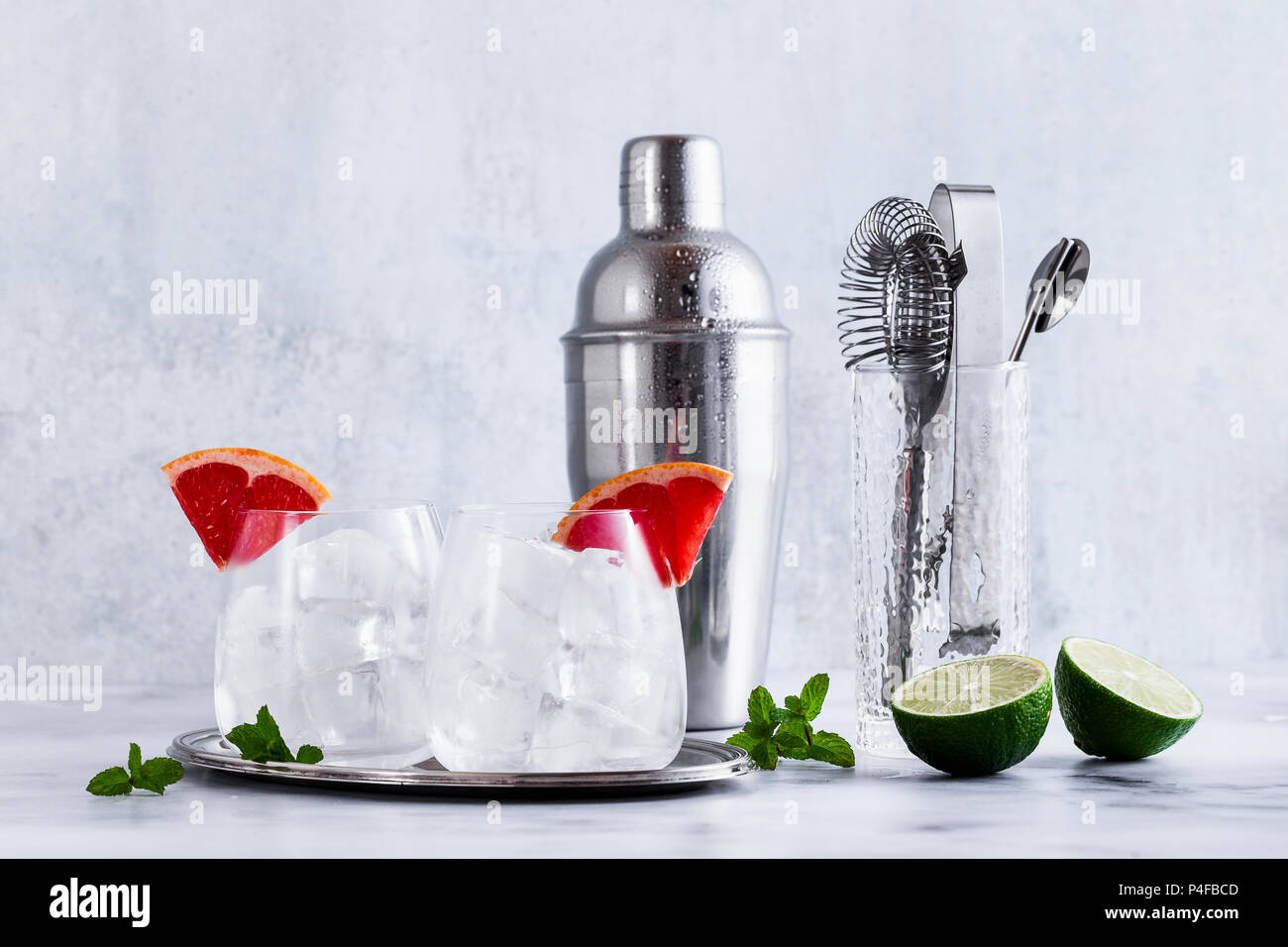 Bar Accessories On The Table And Two Glasses Of Ice Tools For The - Restaurant table accessories