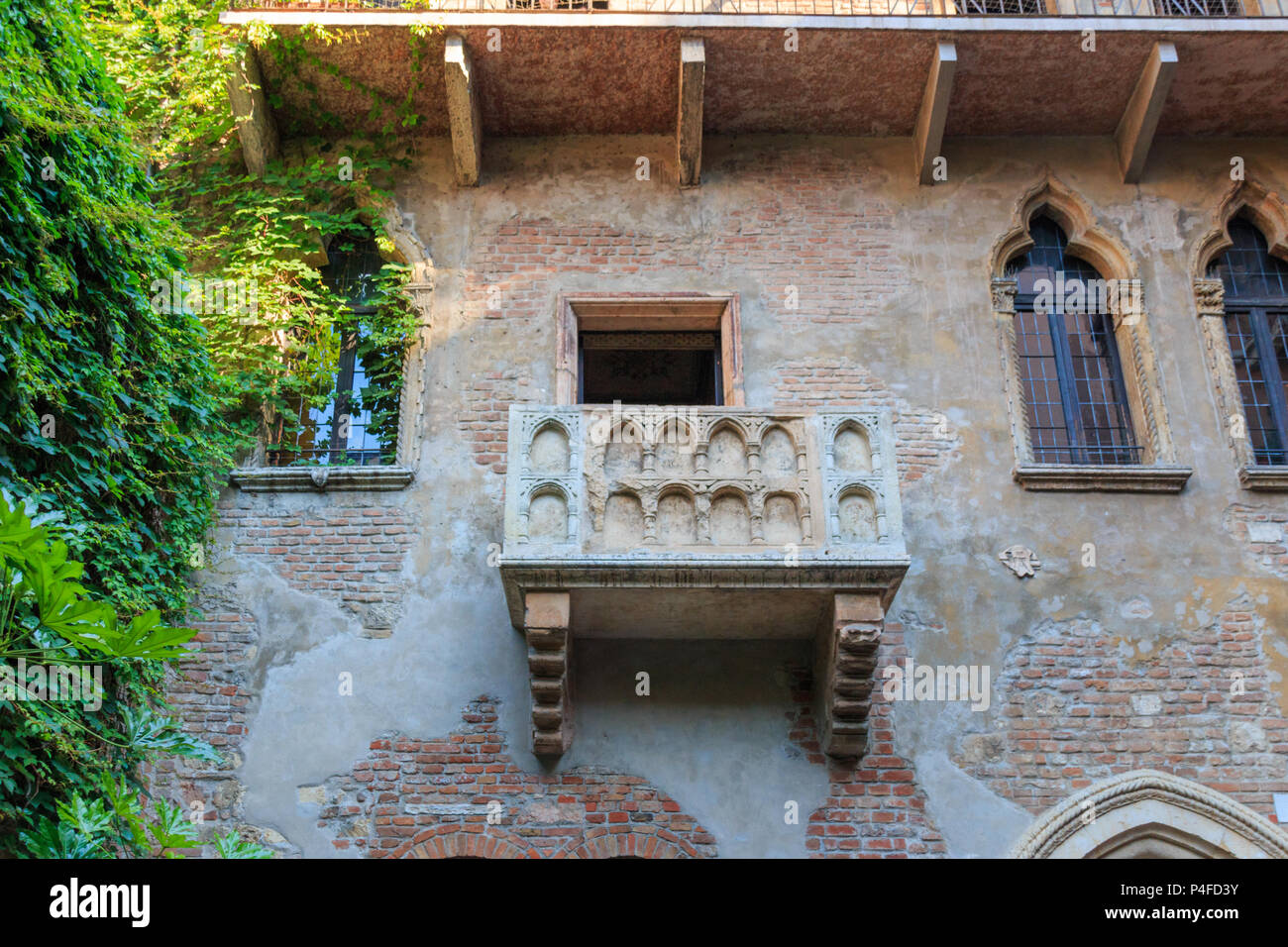 Balcony at Juliet's house is a major landmark and tourist attraction in Verona, Italy - Stock Image