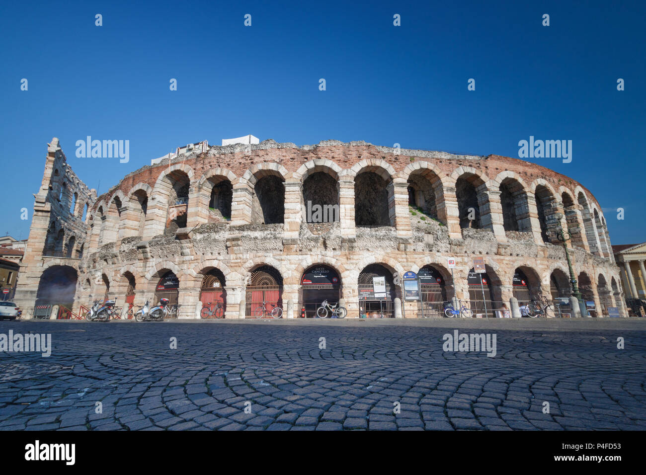 Verona, Italy – May 26, 2017: Outside view of Verona Arena from Piazza Bra, an ancient roman amphitheatre (Arena di Verona) - Stock Image