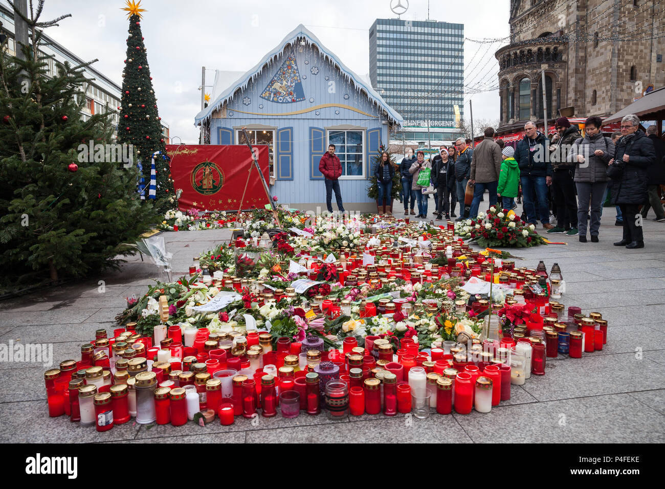 Berlin, Germany, victims' candles to commemorate the victims of the terrorist attack on Breitscheidplatz on 19 December 2016 - Stock Image