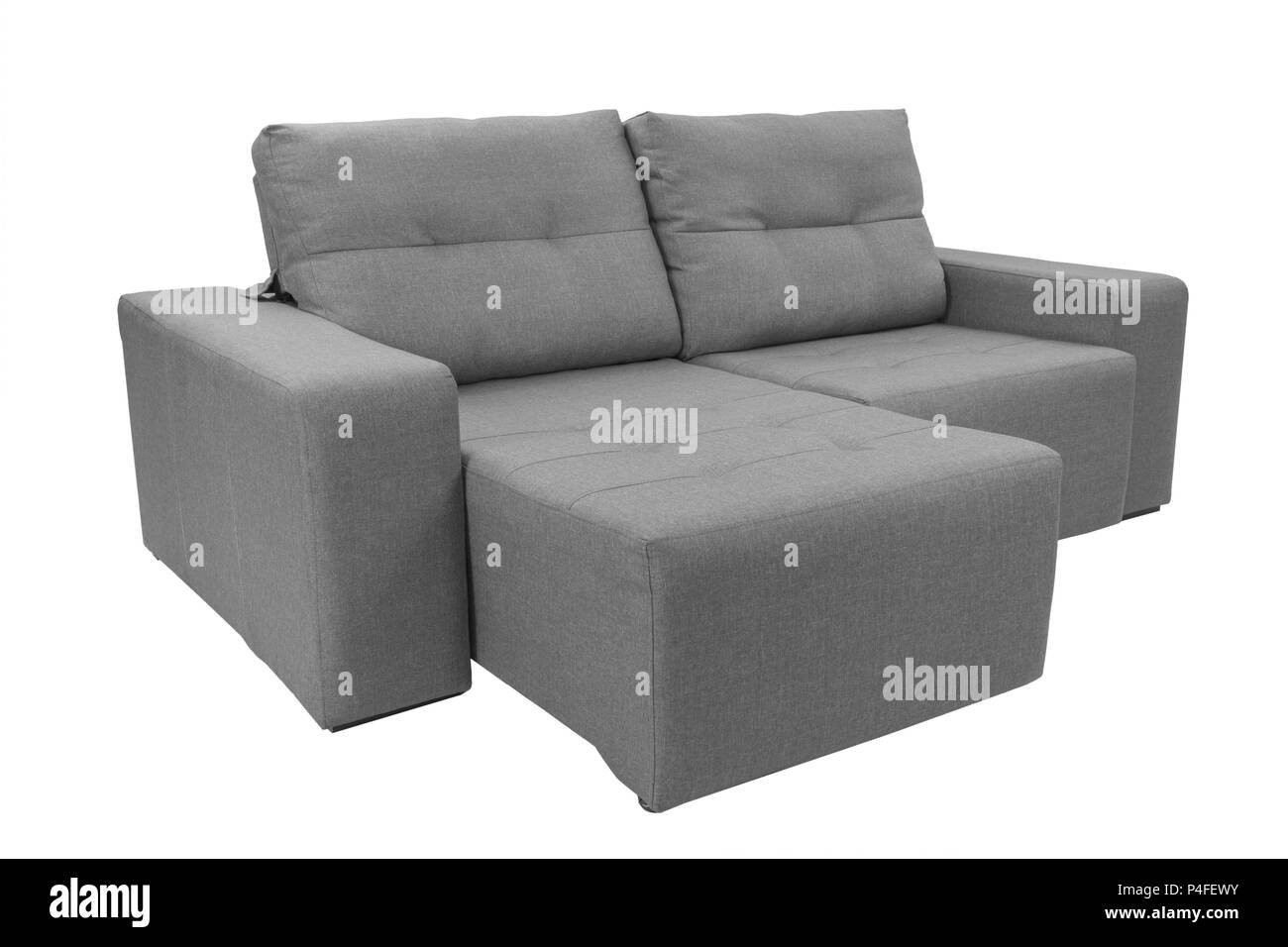 Three seats cozy color fabric sofa isolated on white background - Stock Image