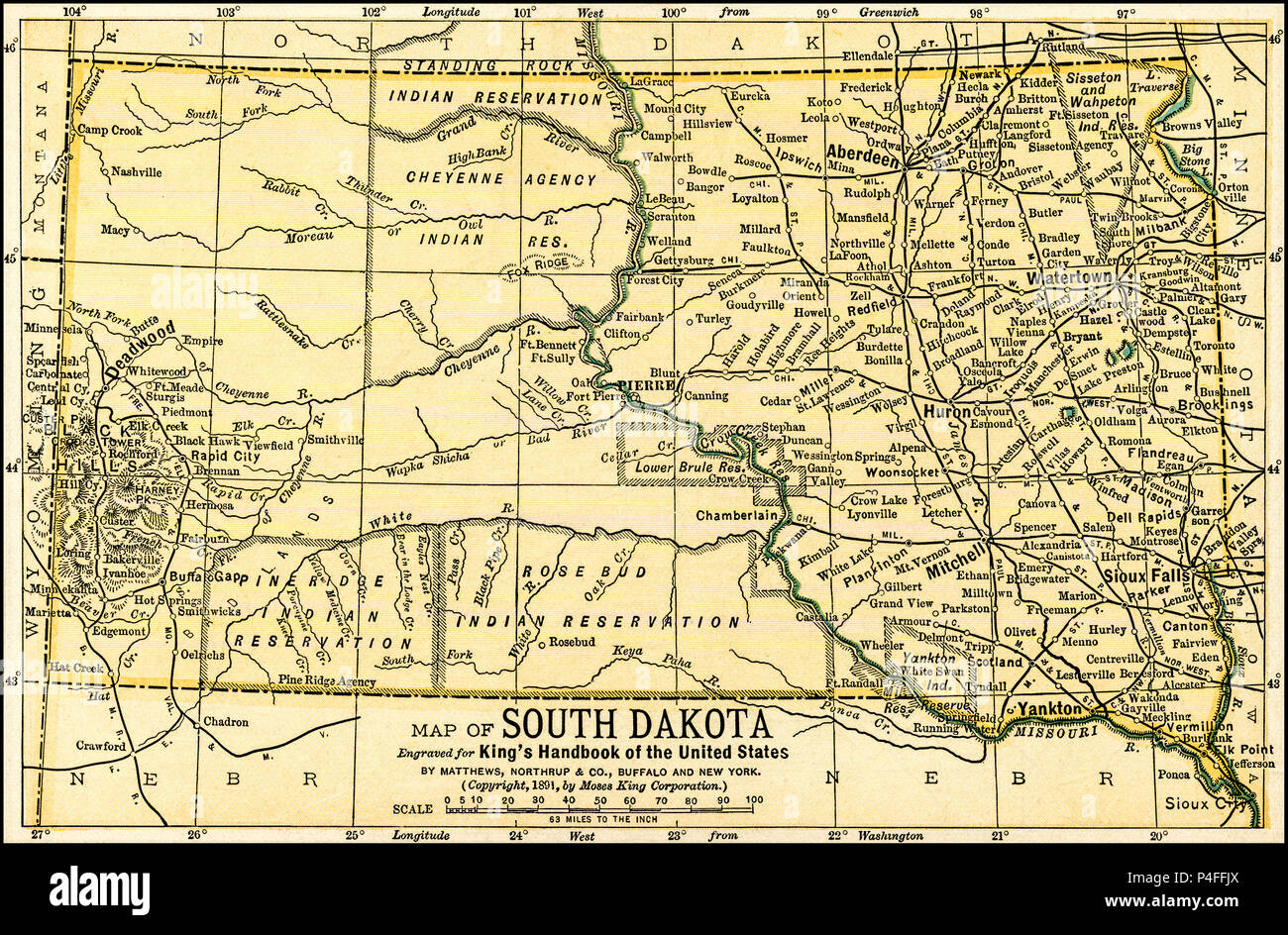 South Dakota Antique Map 1891 Antique Map Of South Dakota From An