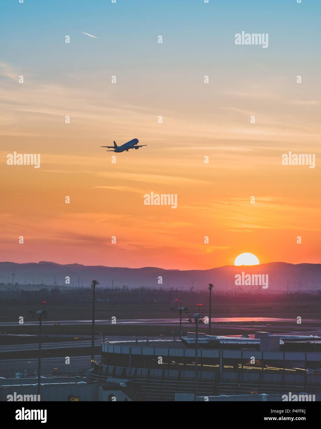 Sunset at Vienna International Airport - Stock Image