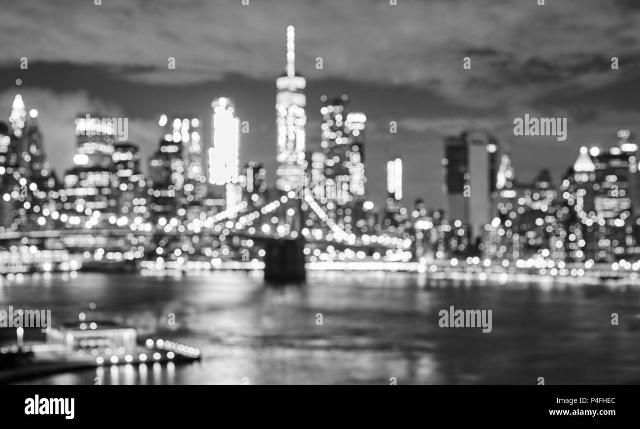Blurred black and white picture of the new york cityscape at night urban abstract background usa