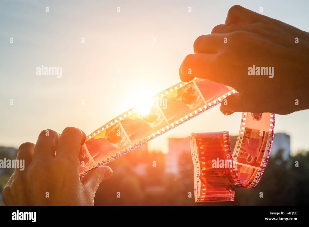 Memory memories past yesterday - film Sunset background Stock Photo