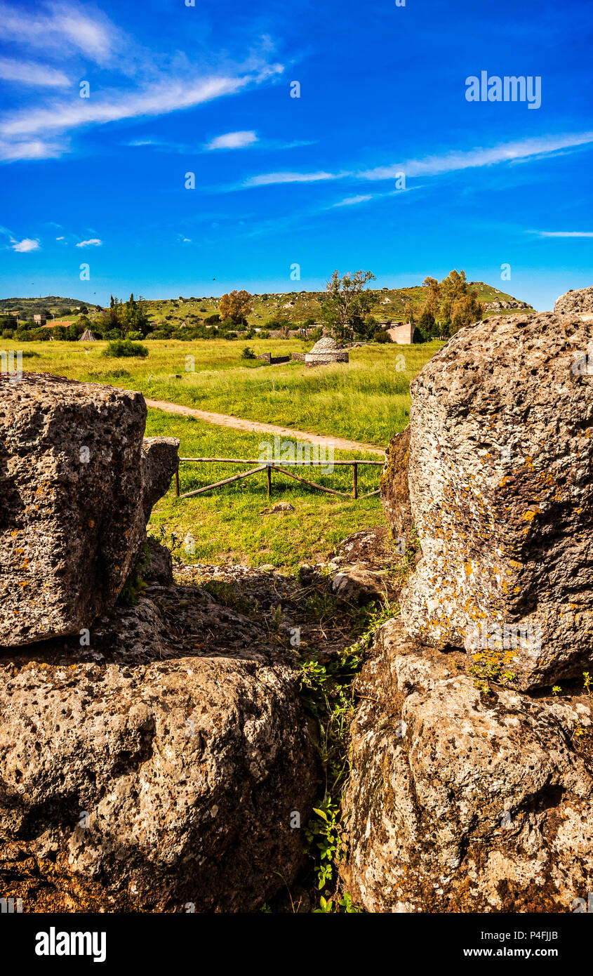 Italy Sardinia Torralba Nuraghe Santu Antine -sa domo de su re XV century BC-one of the most important of the existing ones. - Stock Image