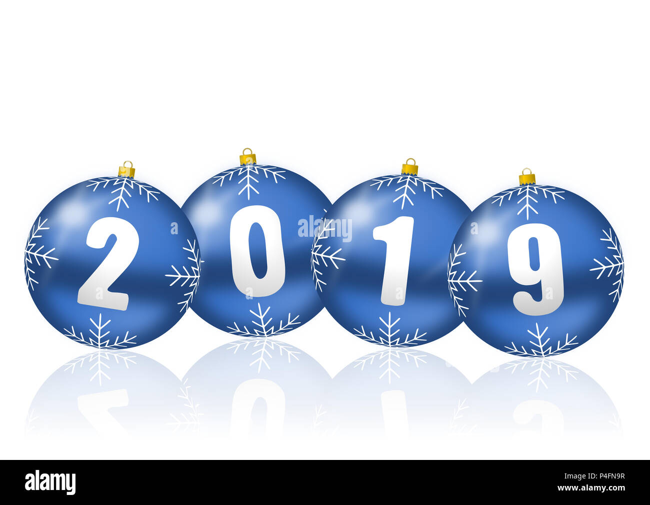 happy new year celebration holiday 2019 greeting card with blue 3d christmas balls illustration on white background with empty copy space for your tex