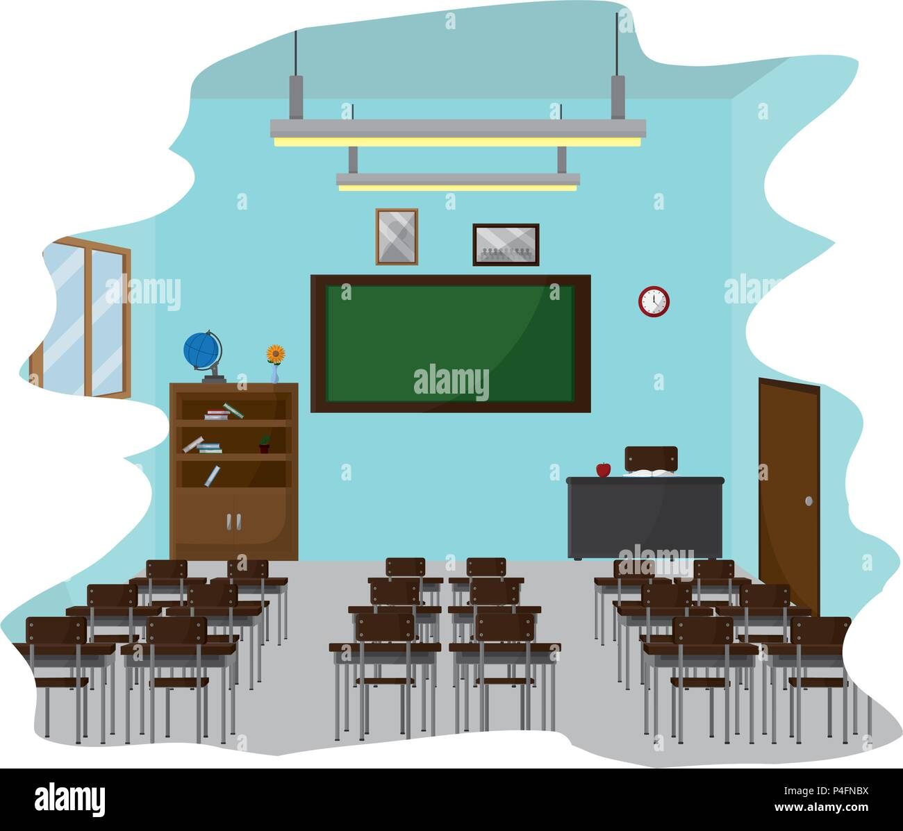 school classroom with education utensils to study - Stock Vector