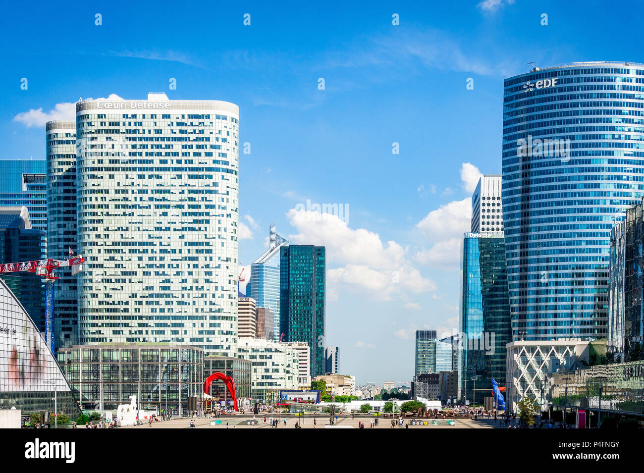 The strange yet wonderful La Defense area in Paris, France that houses an open-air museum. - Stock Image