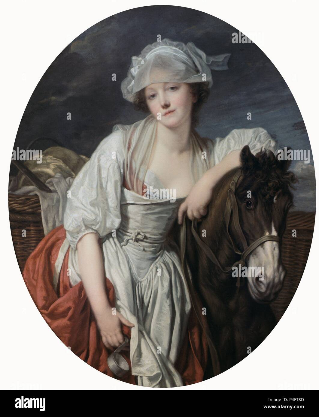 The Milkmaid - 18th century - 106x86 cm - oil on canvas - French Rococo. Author: Jean Baptiste Greuze (1725-1805). Location: LOUVRE MUSEUM-PAINTINGS. Also known as: LA LECHERA. Stock Photo