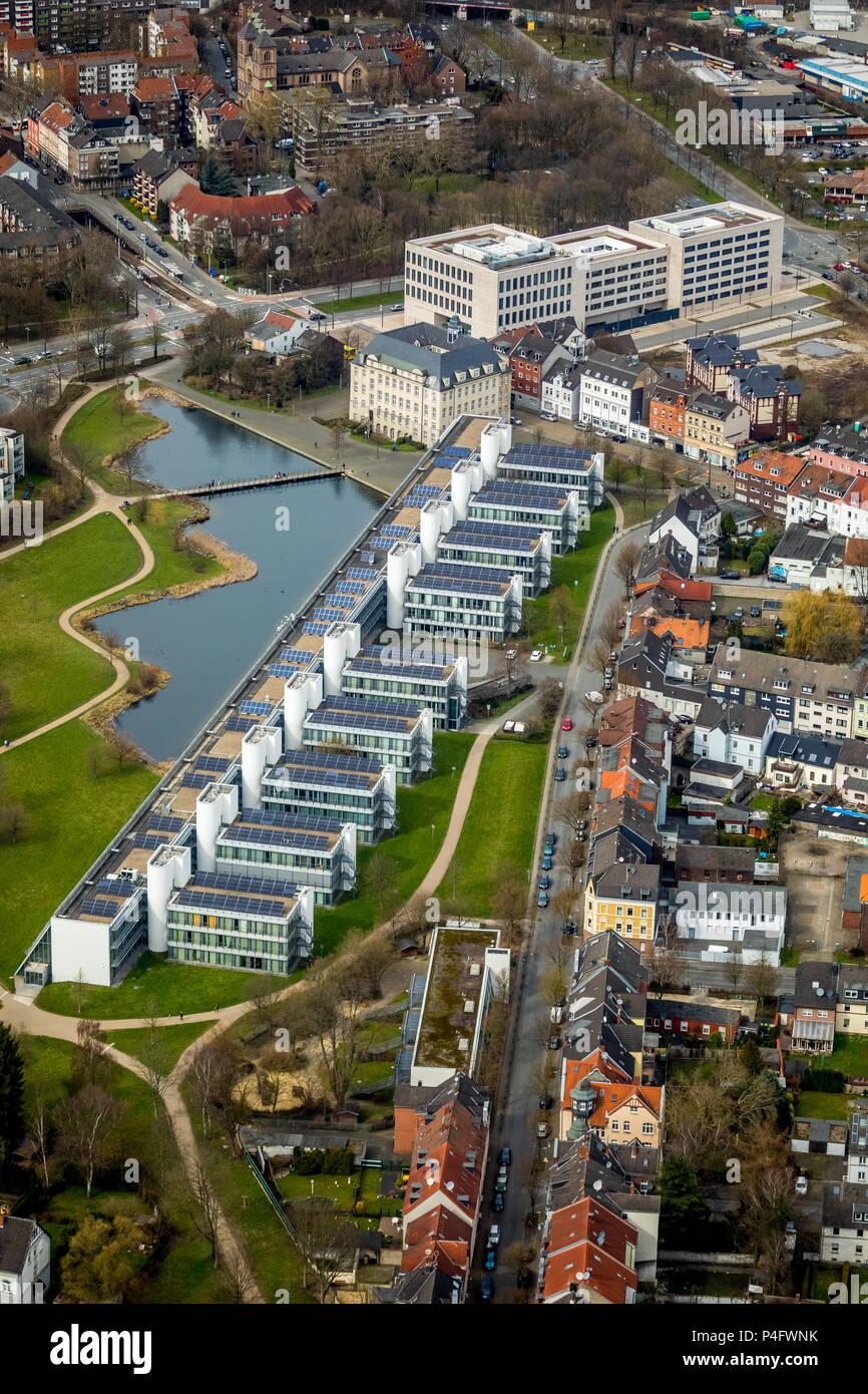 Science Park Gelsenkirchen and new justice center in Ückendorf in Gelsenkirchen in NRW. Gelsenkirchen, Ruhrgebiet, North Rhine-Westphalia, Germany, DE - Stock Image