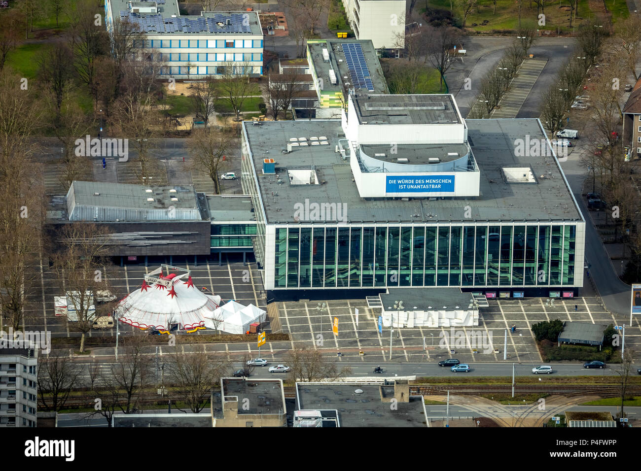 Music theater in the district of Gelsenkirchen with a tent on the Willi-Müller-Platz in Gelsenkirchen in NRW. Gelsenkirchen, Ruhr district, North Rhin - Stock Image