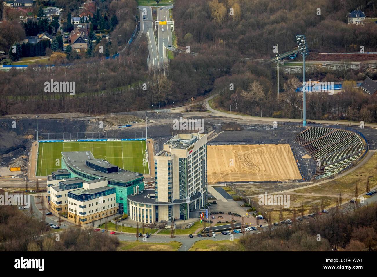 Arena on Schalke, Veltins Arena, medicos.AufSchalke Reha GmbH & Co. KG, grounds of the S04 Schalke Association with reconstruction of the Park Stadium - Stock Image