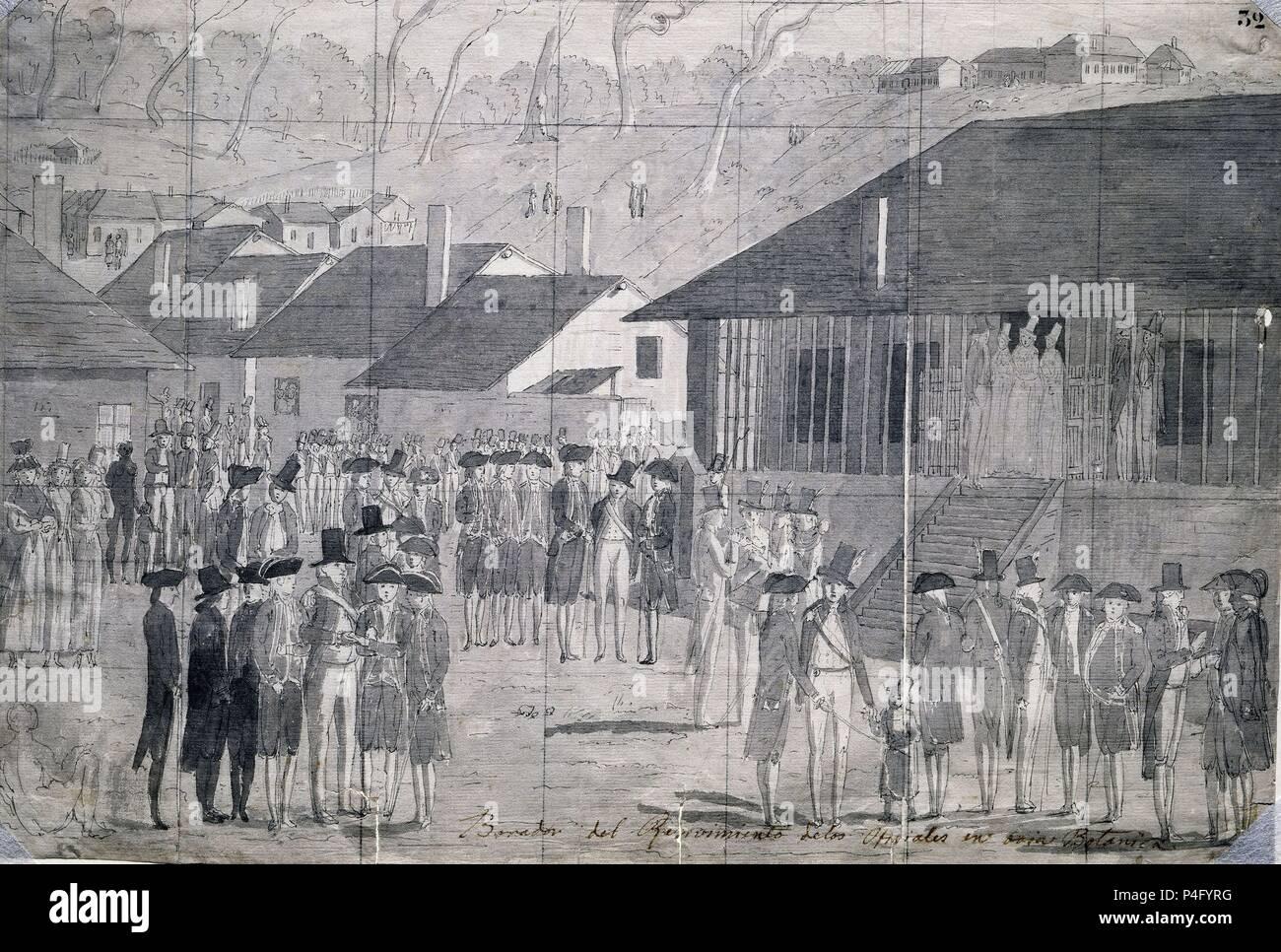 BORRADOR DEL RECIBIMIENTO DE LOS OFICIALES EN BAHIA BOTANICA - DIBUJO - SIGLO XVIII - EXPEDICION MALASPINA - PAPEL VERJURADO. Author: Juan Ravenet (1766-1821). Location: MUSEO DE AMERICA-COLECCION, MADRID, SPAIN. Stock Photo
