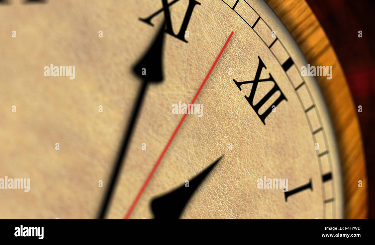 Retro style clock 3D illustration. The old timer, second hand and minute hand with roman numerals. - Stock Image