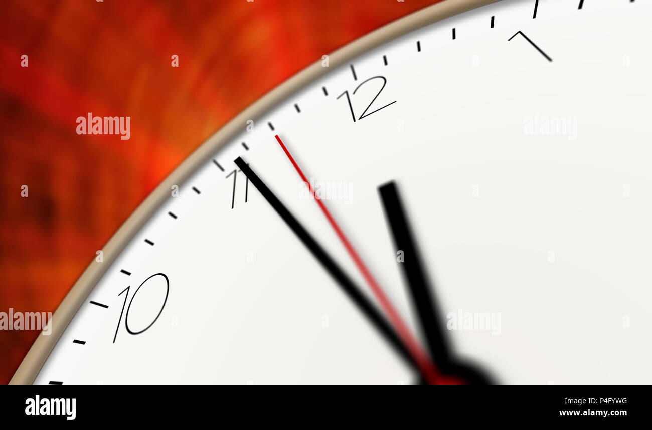 Modern style clock 3D illustration. Timer, second hand and minute hand with big numerals. - Stock Image