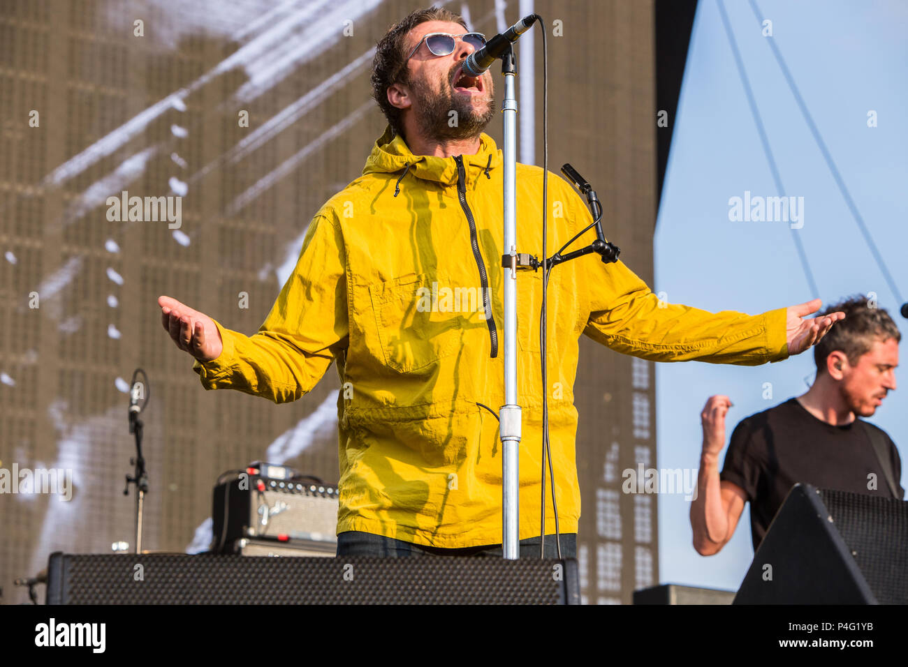 Milan Italy. 21 June 2018. The English singer-songwriter LIAM GALLAGHER performs live on stage at Area Expo Experience Milano during the 'I-Days Festival 2018' Credit: Rodolfo Sassano/Alamy Live News - Stock Image