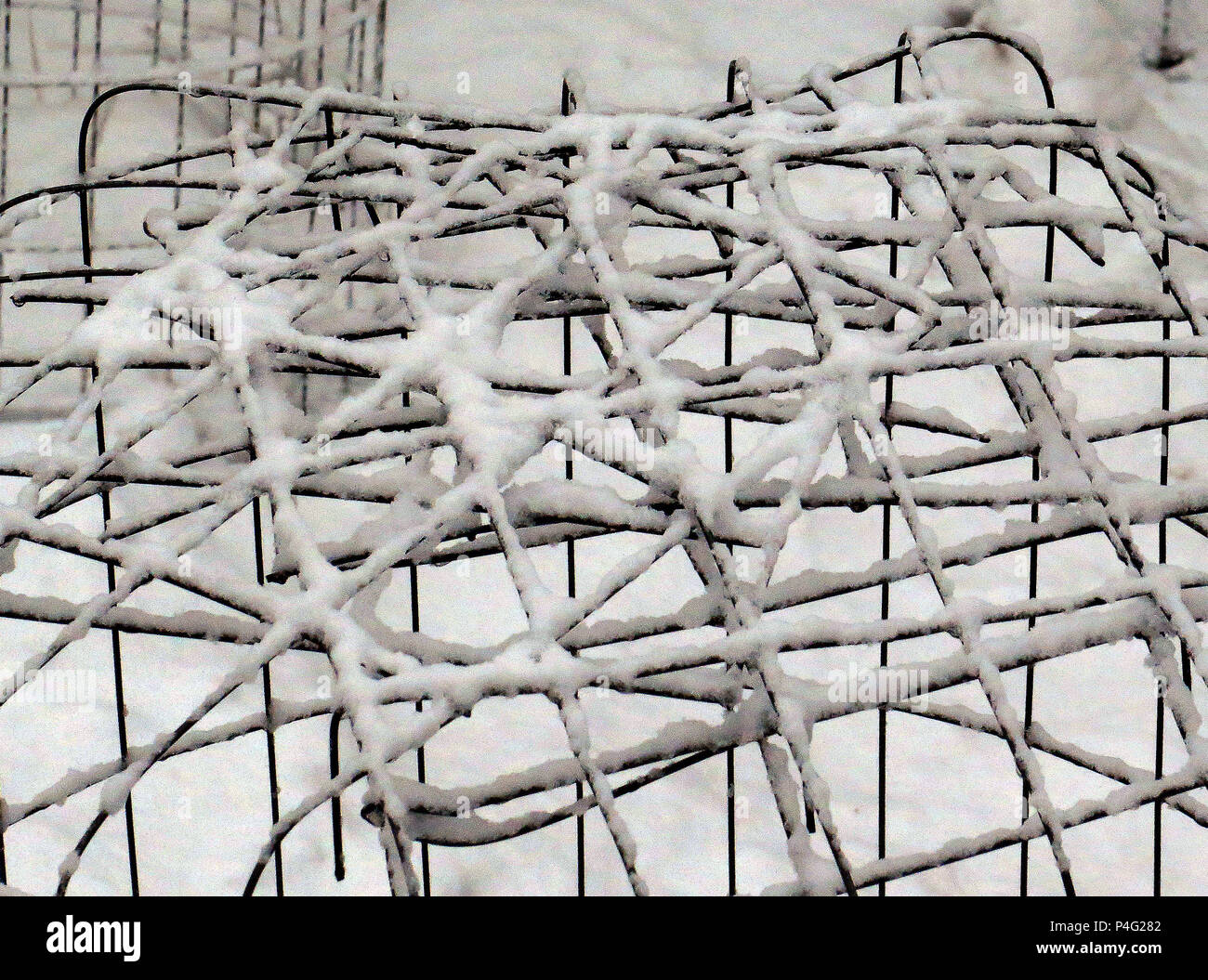 Arizona, USA. 2nd Jan, 2017. Snow dusts some garden fencing along ...