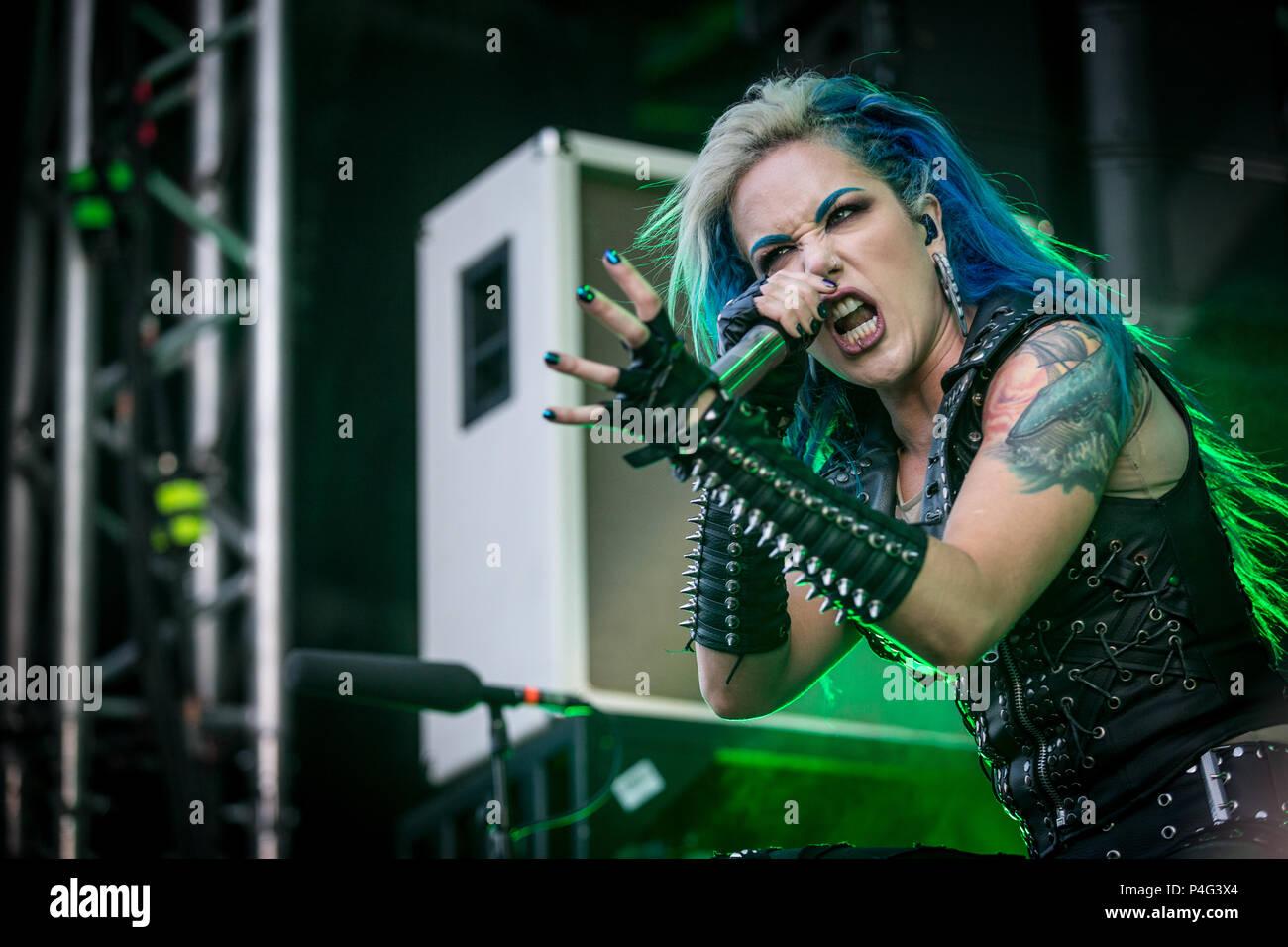 Copenhagen Denmark 21 June 2018 The Swedish Melodic Death Metal Band Arch Enemy Performs A Live Concert During The Danish Heavy Metal Festival Copenhell 2018 In Copenhagen Here Vocalist Alissa White Gluz