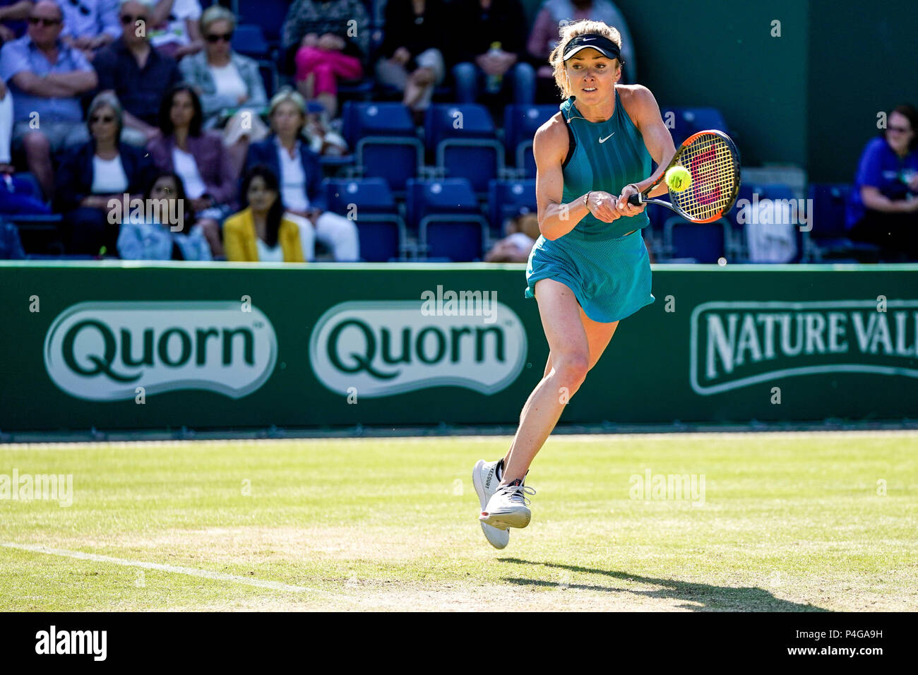 Edgbaston Priory Club, Birmingham, UK. 22nd June, 2018. Nature Valley Classic Tennis; Elina Svitolina (UKR) hits a running backhand in her match against Mihaela Buzarnescu (ROU) Credit: Action Plus Sports/Alamy Live News - Stock Image