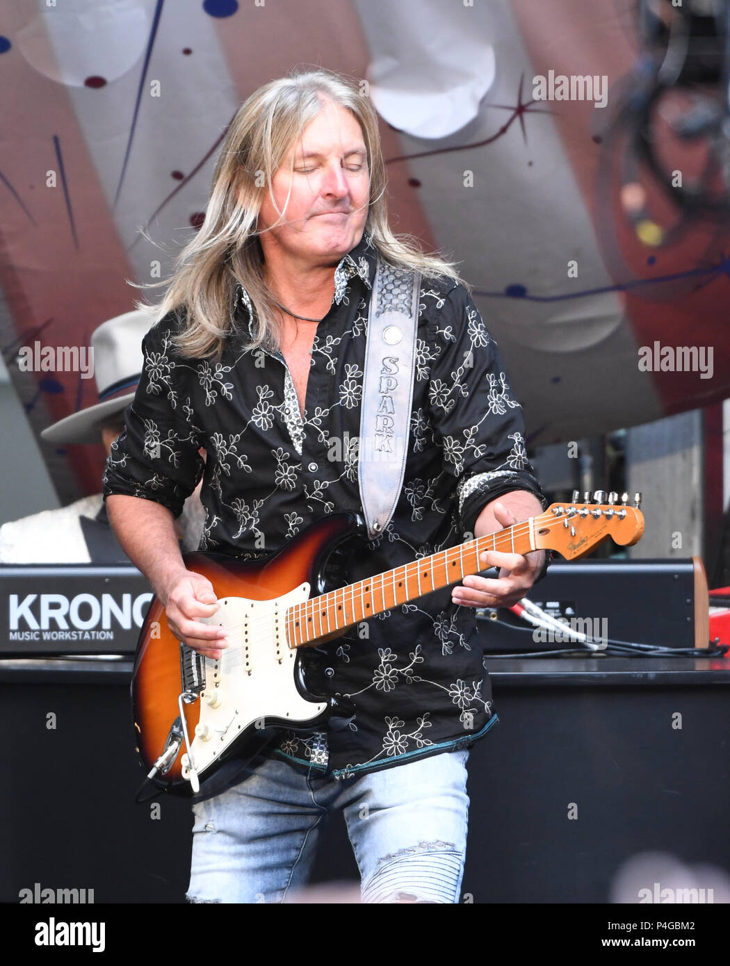 "New York, NY, USA. 21st June, 2018. Mark ""Sparky"" Matejka of Lynyrd Skynyrd performs during 'FOX & Friends' All American Concert Series at FOX Studios on June 21, 2018 in New York City. Credit: John Palmer/Media Punch/Alamy Live News Stock Photo"