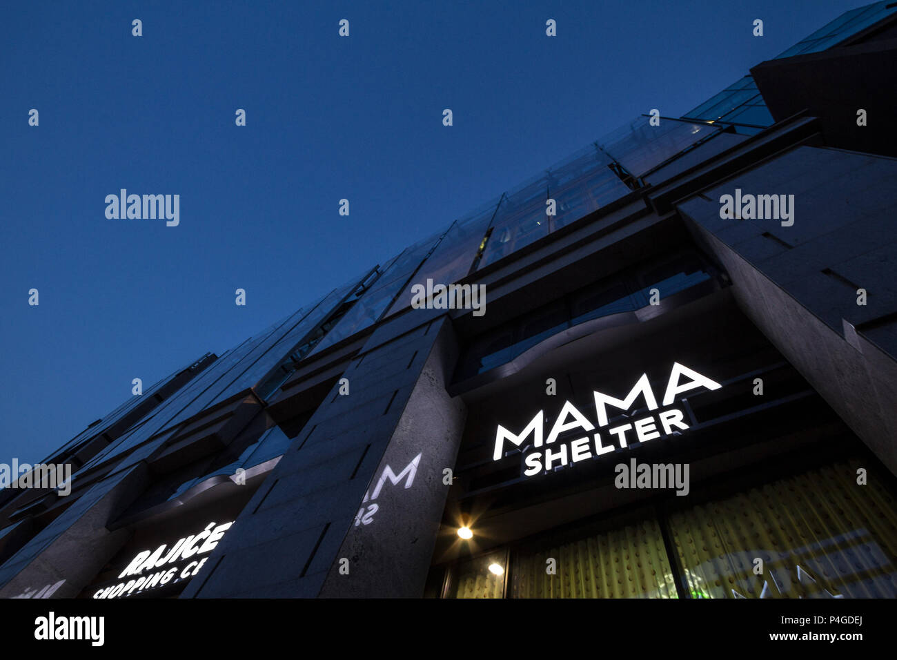 BELGRADE, SERBIA - JUNE 16, 2018: Logo of Mama Shelter on their newly opened hotel in Belgrade. Mama Shelter is a luxury hispter hotel brand from Fran - Stock Image
