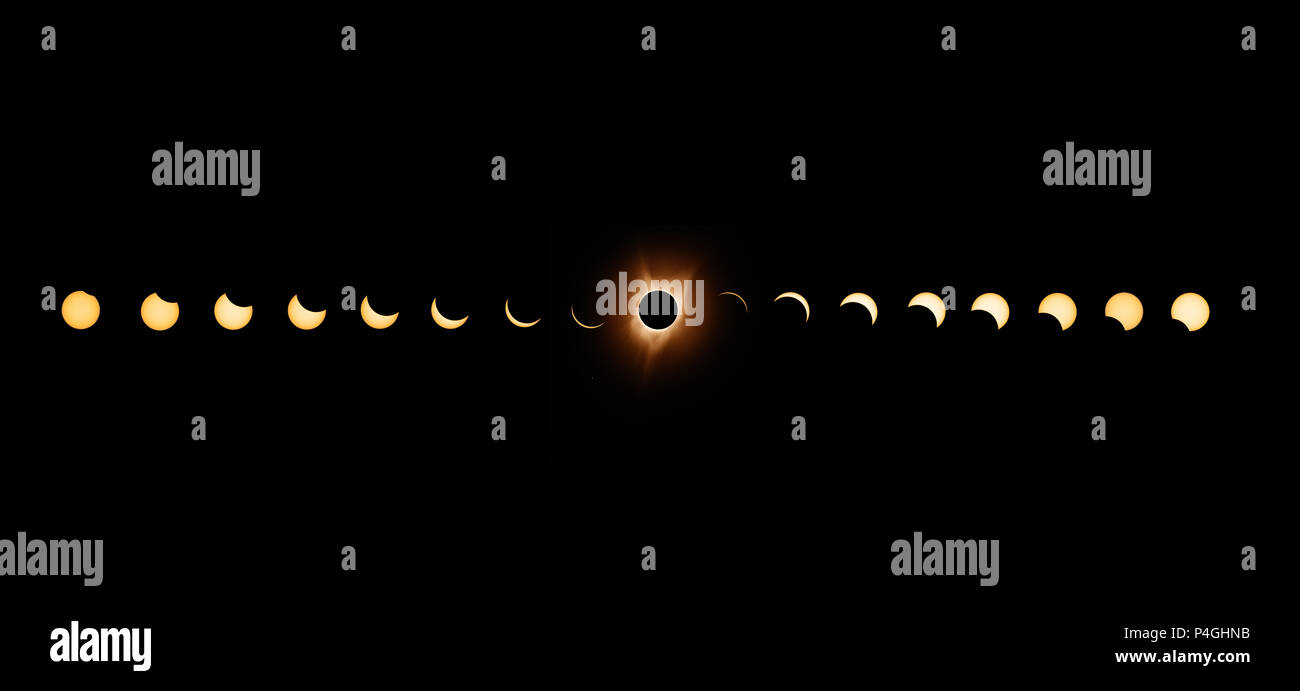 Sequence of total solar eclipse 2017 with exposures bracketed and combined to enhance the solar corona at totality. - Stock Image