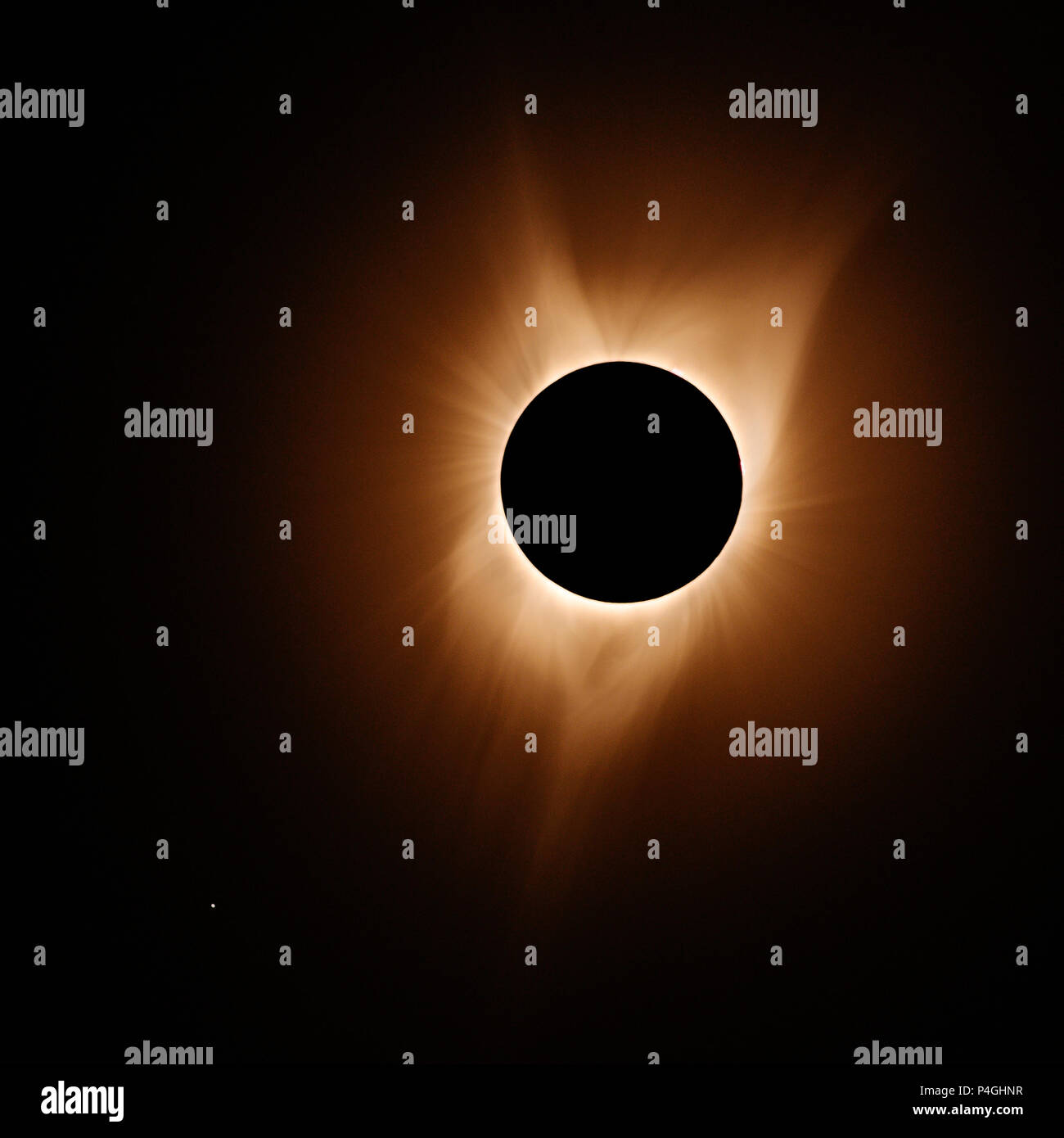 Total solar eclipse 2017 near John Day Oregon with exposures bracketed and combined to bring out the solar atmosphere and solar corona better. - Stock Image