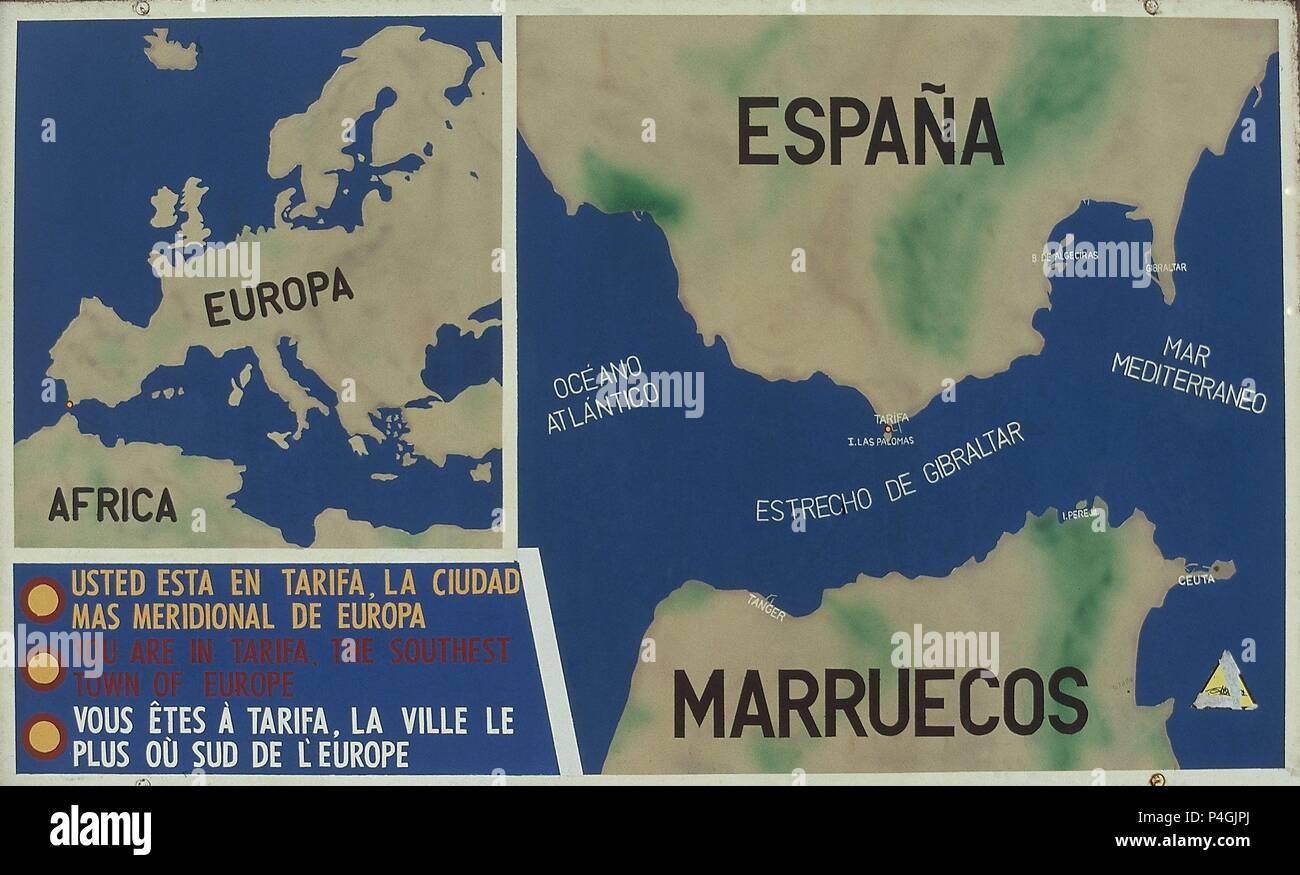 Mapa De Tarifa Cadiz.Mapa Indicando La Situacion De Tarifa En El Mapa De Espana Tarifa La Ciudad Mas Meridional De Europa Location Exterior Tarifa Cadiz Stock Photo Alamy
